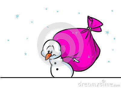 Christmas snowman character big bag gifts cartoon illustration isolated image