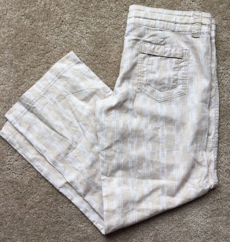 "PATAGONIA Women's Beige Relaxed Leg Soft Linen Blend Casual Pants Size 32"" Waist  | eBay"