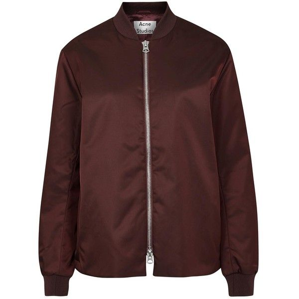 Womens Casual Jackets Acne Studios Fuel Tech Burgundy Shell Bomber... found on Polyvore featuring outerwear, jackets, shell jacket, burgundy jacket, acne studios, bomber style jacket and padded bomber jacket