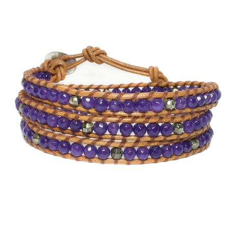 Purple Jade + Gold + Brown Natural Leather