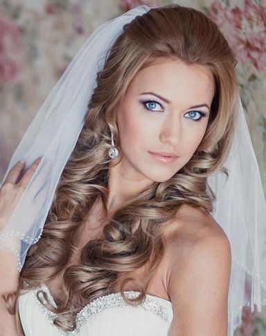 Half up half down wedding hairstyle with loose bouncy curls.This style looks perfect under the veil!