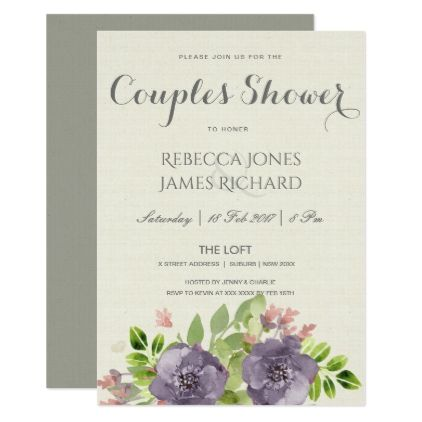 PURPLE PINK BLUE WATERCOLOR FLORAL COUPLES SHOWER CARD - country wedding gifts marriage love couples diy customize