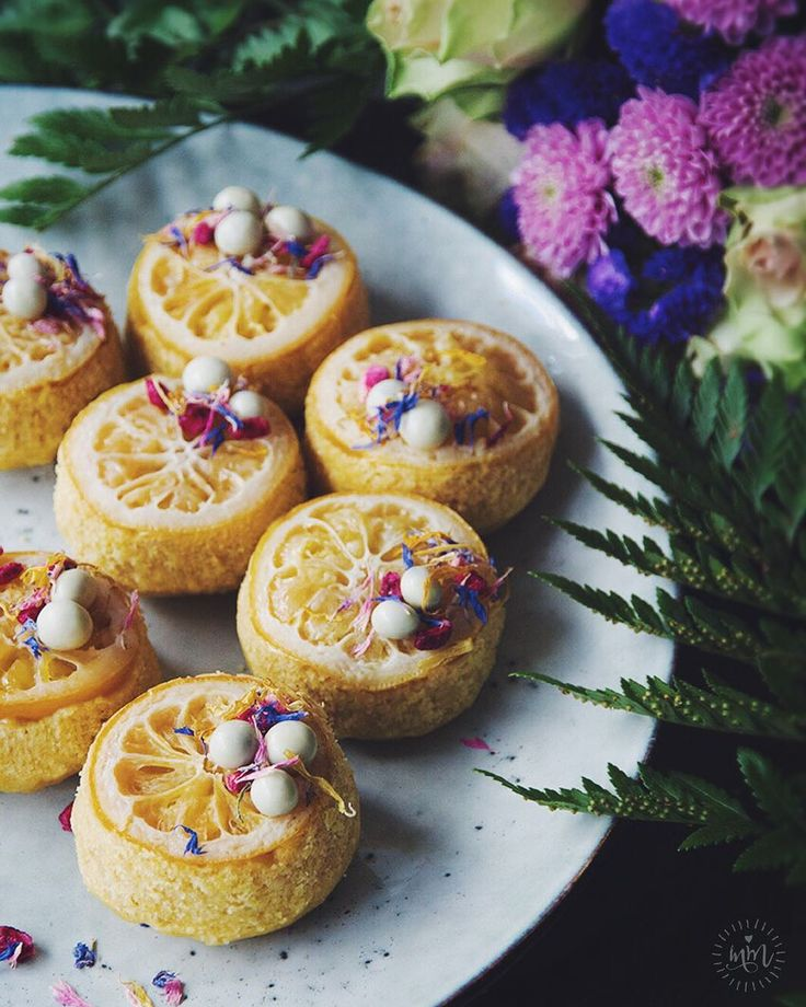 """Lemon Cakes with Candied Lemon- Delicate pretty & delicious. The 2-part recipe (below and in comments) may be of interest to those who prefer to eat #dairyfree #eggfree mostly #organic &/or #sugarfree... or perhaps for any random #GoT fans who happen to stumble across this post  lf you'd like to join a celebratory GoT premiere """"virtual feast"""" create something inspired by the show tag me  use the hashtag #FoodofThrones2016 so I can find you. Ill do a mini feature (or a dedication post to all…"""