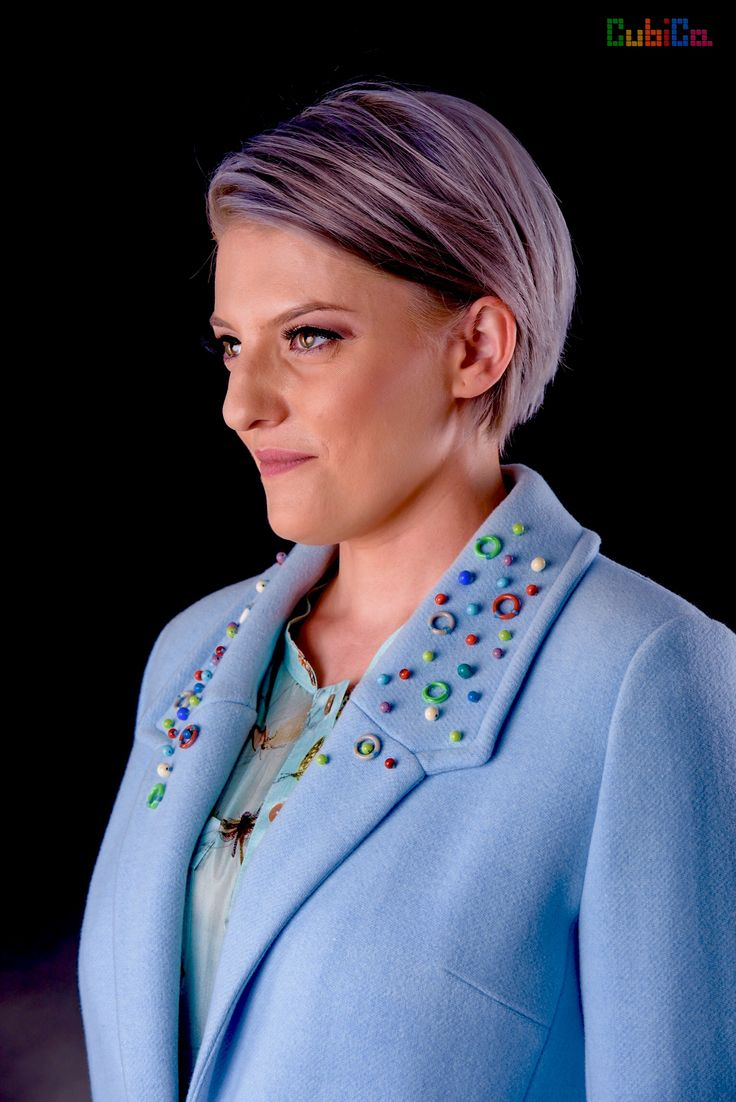 Adelaide wool coat CubiCa Peculiar collection murano collar & sleeves embellished