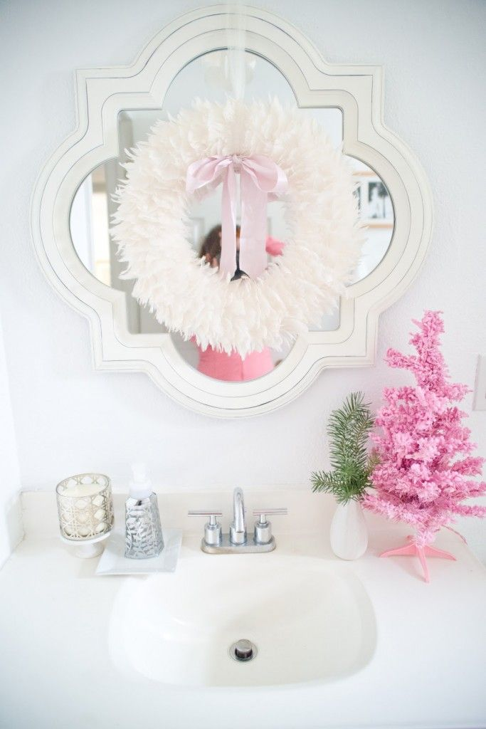 Christmas Bathroom Decorations With Sweetest Small Pink Christmas Tree For Small Sink Decor And Holly White