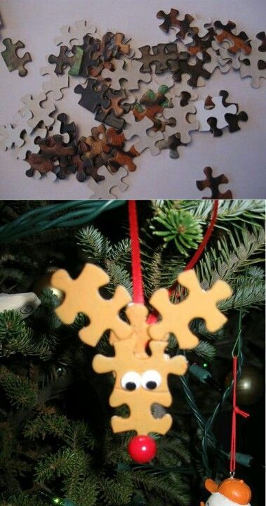Kids craft for christmas- lost puzzle pieces made useful.