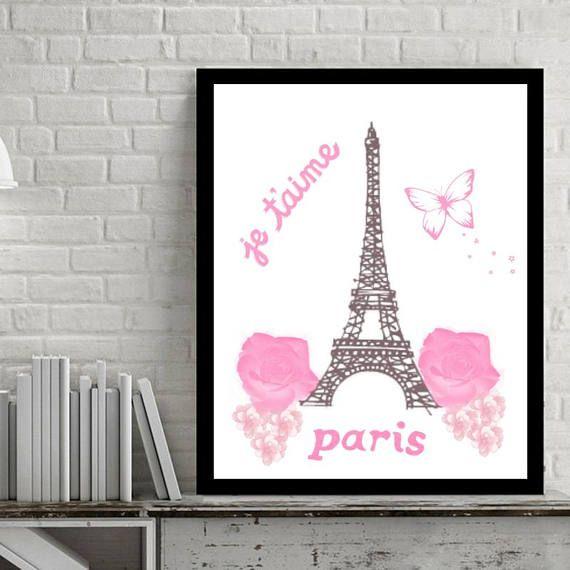 Pink Paris art print Pink Paris wall art Pink Eiffel tower