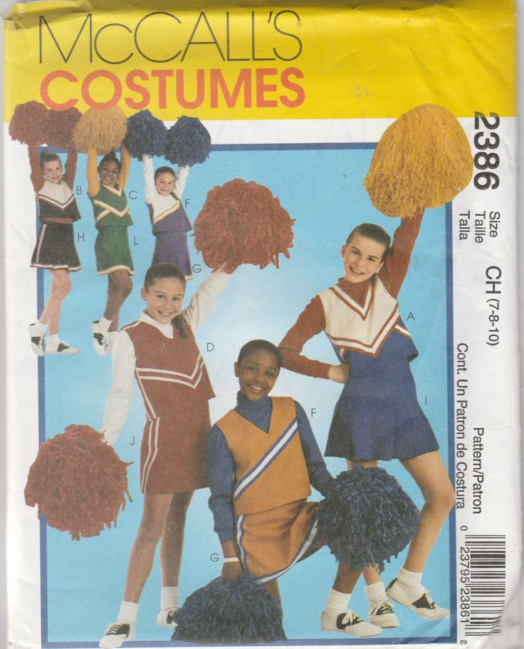 McCall's Costumes 2386 Size 7-8-10 Girls' Cheerleader Costumes Sewing Pattern 1999 Uncut by LadybugsandScorpions on Etsy