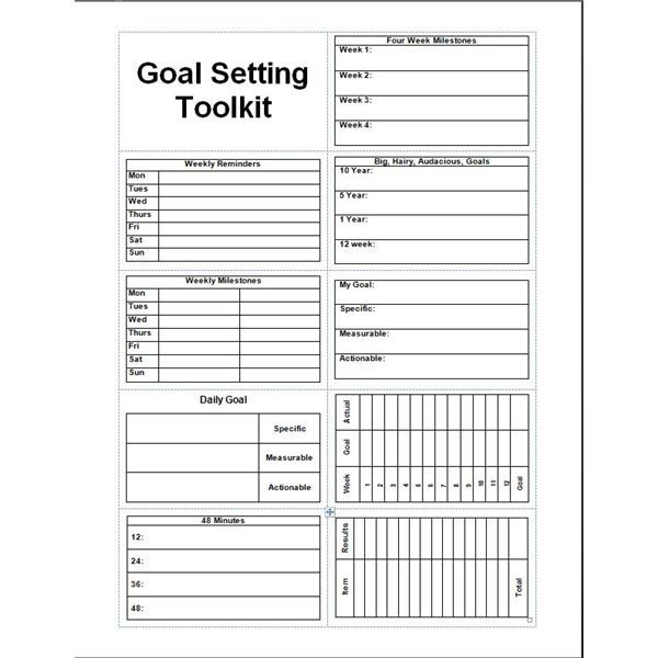 monthly goal planner template