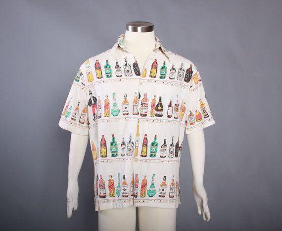 60s Men's NOVELETY LIQUOR Bottles SHIRT / Early 1960s Bartender Alcohol Hawaiian Rockabilly Shirt