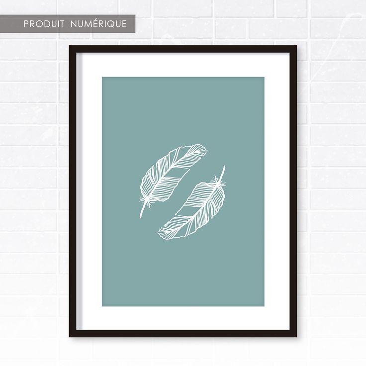 Affiche scandinave plumes bleu et blanc d coration int rieure illustrat - Affiches decoration interieure ...