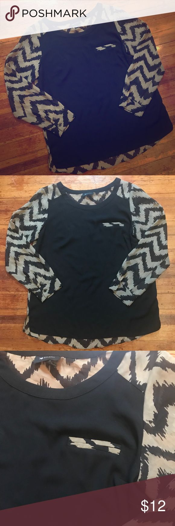 Black Tan Chevron Blouse Black Brown/Tan Chevron Blouse. Gently used but in mint condition. Sheer blouse. Smoke free home. AB Studio Tops Blouses