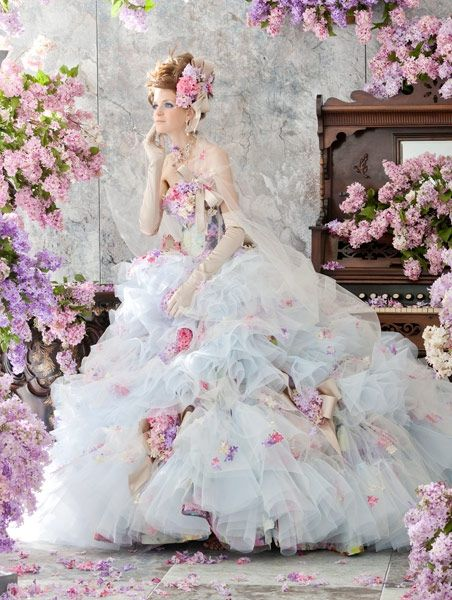 Stella de Libero, gown, couture, wedding, bridal, dress, fantasy, flowers…