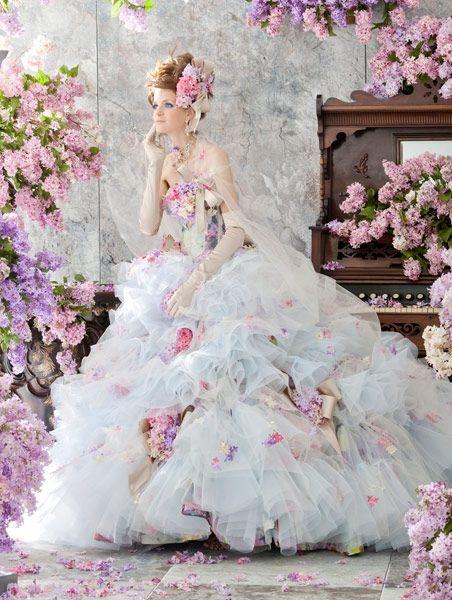 Stella de Libero, gown, couture, wedding, bridal, dress, fantasy, flowers…