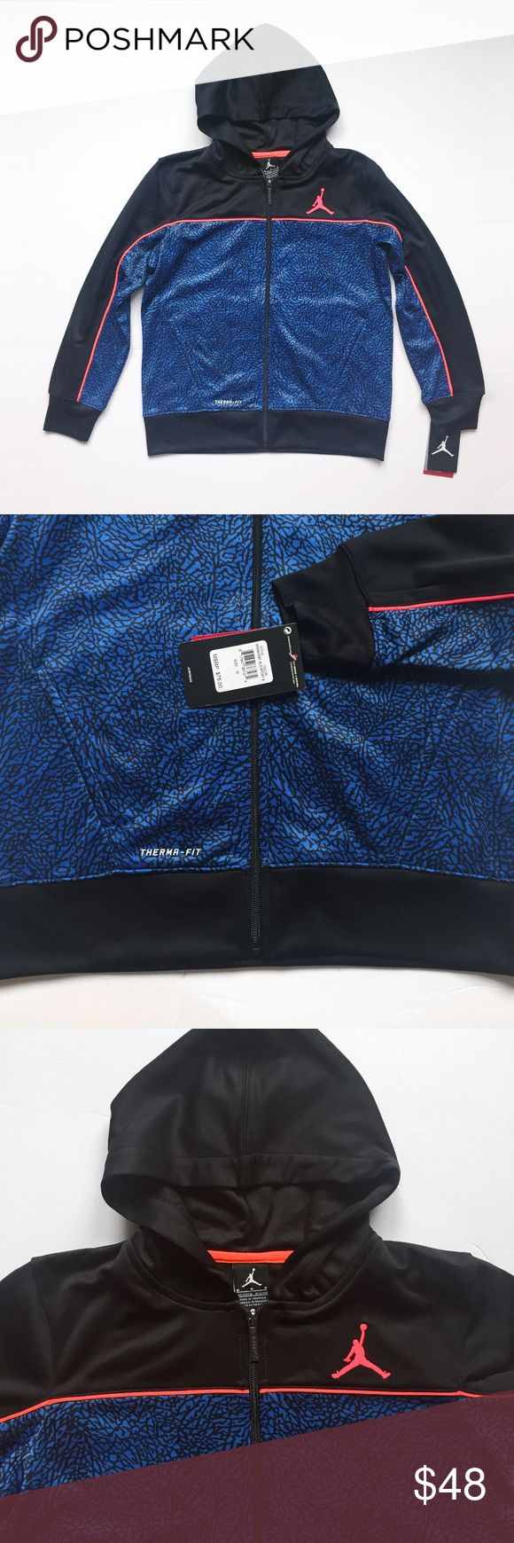 """NIKE JORDAN JUMPMAN thermafit hooded track jacket NIKE   retro  classic. jumpman. pockets. thermafit, """" helps keep you warm and insulated """". fleece lining,  100 poly.   laid flat, seam - seam: chest: 18.5"""" shoulders: 15"""" shoulder to hem: 22"""" shoulder to cuff: 21""""   boys M, fits 10 - 12 years new with tags, pet/smoke free  air vintage sweatshirt basketball running athletic trainer training yeezy color way shoes matching sweater sneaker head flight club shoes shoe oversized slouchy sporty…"""