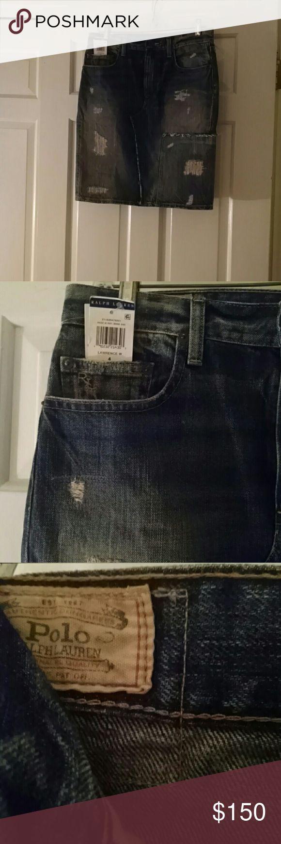 Polo Ralph Lauren distressed denim skirt size 4 Brand new with tags! Polo Ralph Lauren distressed denim skirt. Retail $165. Polo by Ralph Lauren Skirts Midi