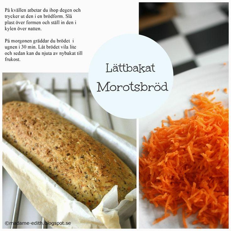 Morotsbröd - Kalljäst Ett nyttigt och gott morotsbröd som är hur enkelt som helst att baka Förbered degen på kvällen - Grädda på mor...