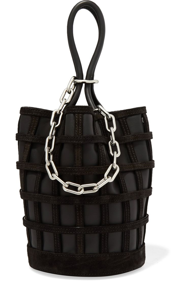 Alexander Wang | Roxy Cage chain and suede-trimmed leather bucket bag | NET-A-PORTER.COM