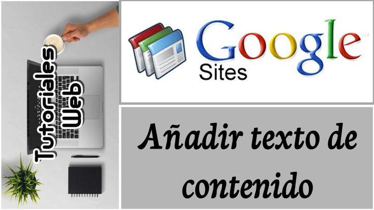 Google Sites Clásico 2017 - Añadir texto de contenido (español)