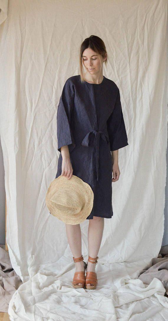 Blue Linen Tied Bow Dress Size S/M