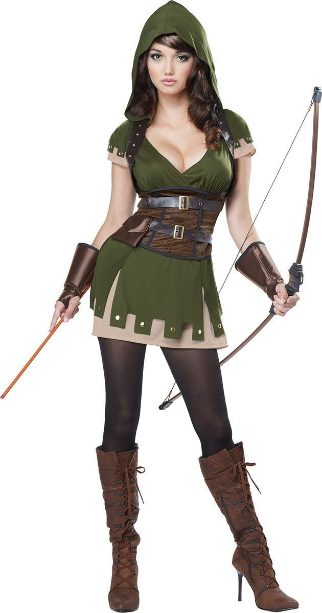 Robin Hood Costume Adult Medieval Huntress Halloween Fancy Dress