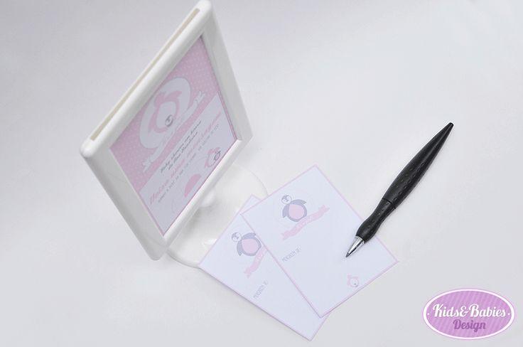 Kids&Babies: Party Printables :: Baby Shower Pinguim - cartaz (10x15cm) e cartões (7x10cm) para mensagens