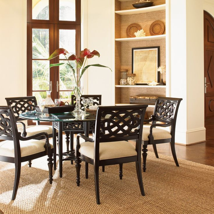 Tommy Bahama Royal Kahala 7 Piece Sugar and Lace 60 in. Glass Dining Table Set - LEX546