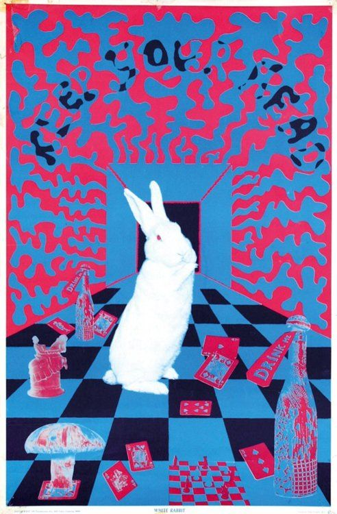 """Keep Your Head"" Art by Joe McHugh (1967) | Follow the White Rabbit down the whole"