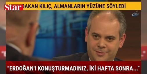 """Bakan Kılıç Almanların yüzüne söyledi: Cumhurbaşkanı Erdoğan'ı konuşturmadınız, iki hafta sonra PKK'lılar yayın yaptı: Gençlik ve Spor Bakanı Akif Çağatay Kılıç Alman Birinci Televizyonu ARD'de Anne Will'in yönettiği """"Türkiye ile krizden çıkma yolu nedir?"""" konulu açık oturuma katıldı. Programa Alman tarafından Federal Başbakanlık Dairesi Başkanı Peter Altmaier da katıldı. Tartışma programında, Nazi benzetmesinde konuşmaları engellenen Türk siyasetçilerine, Referandumdan Deniz Yücel'in…"""