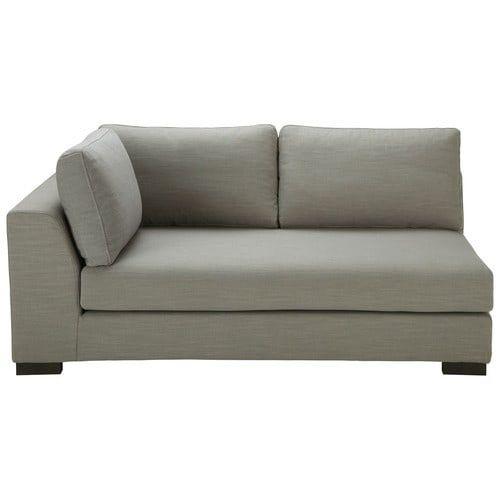 Light grey Monet linen modular sofa bed left armrest