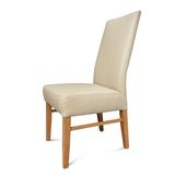 Flow Back Full Grain Leather Dining Chair Light Mocha w Tas Oak Leg