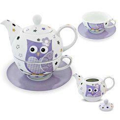 photo G. Wurm GmbH + Co. KG Service à thé en porcelaine pour une personne avec théière et tasse avec soucoupe avec motif de chouette mauve et blanc