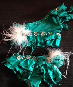 Glitz Pageant Swimwear Teal With Feathers