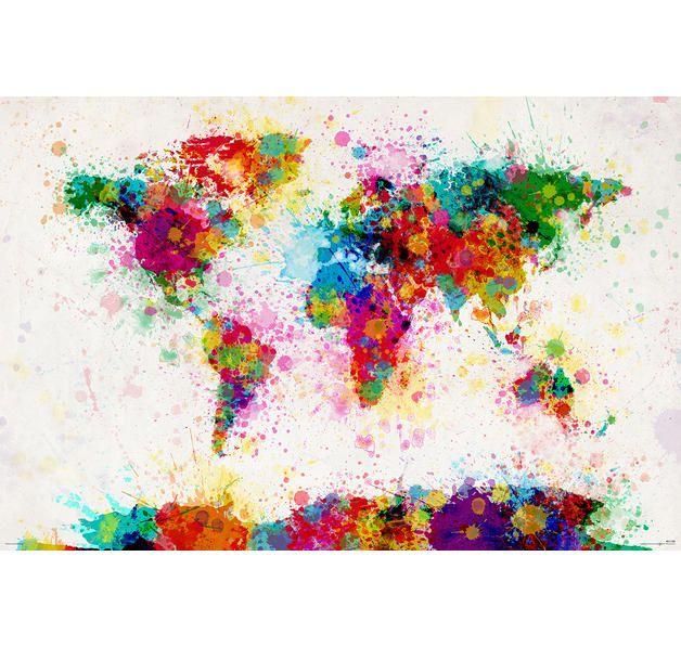 World Map Paint Drop Poster Michael Tompsett Weltkarte. Hier bei www.closeup.de