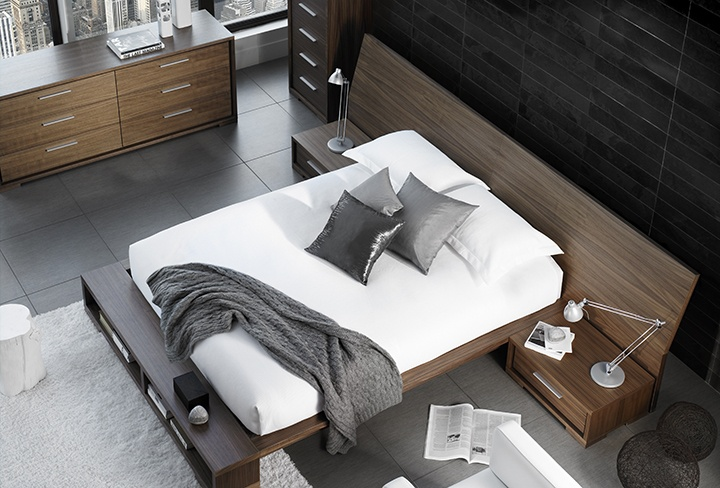 Sonoma modern wood bedroom collection by Mobican Furniture. Floating drawers can be mounted directly on the wide headboard. Optional storage bookshelf on the footboard. Available in several finishes on oak or walnut. Made in Quebec, Canada.