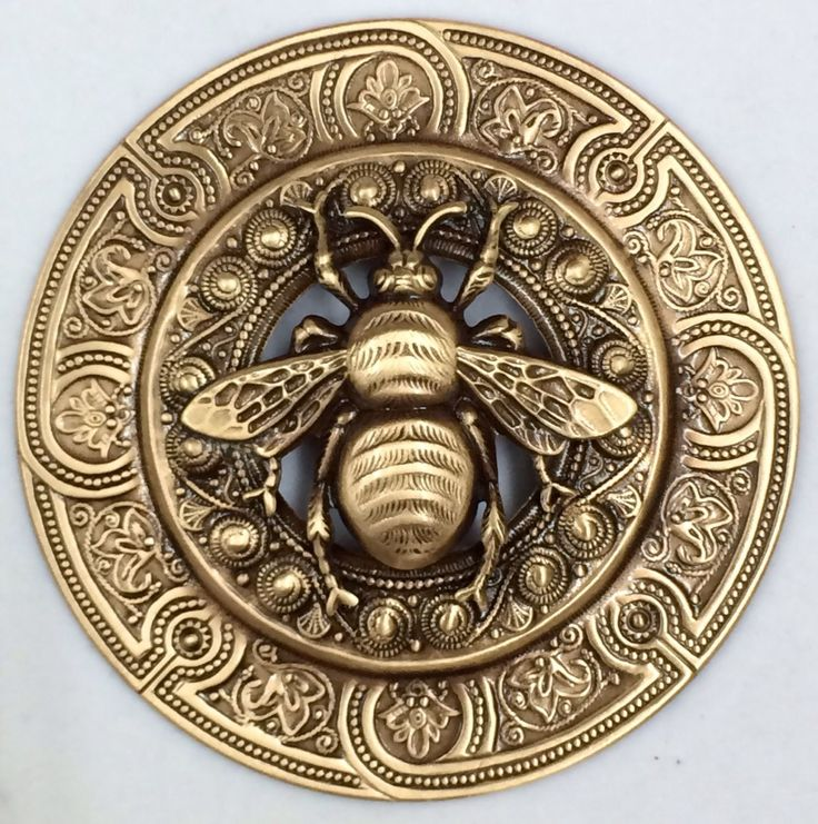 "RP: Extra Super Large Stamped Brass Vintage Inspired ""Bee"" Picture Button 