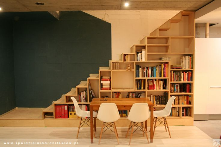 Plywood Stairs And Bookshelf In One Our House Work