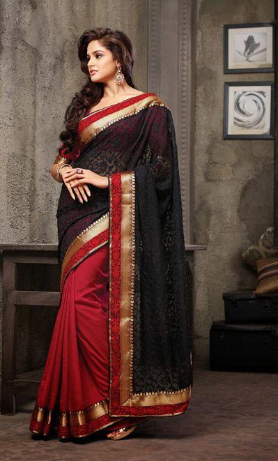 USD 54.95 Black and Red Linen Half N Half Party Wear Saree  35896