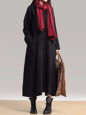 Only US$26.99 , shop Vintage Women Long Sleeve Plate Buckles Pocket Hooded Maxi Dresses at Banggood.com. Buy fashion Vintage Dresses online.