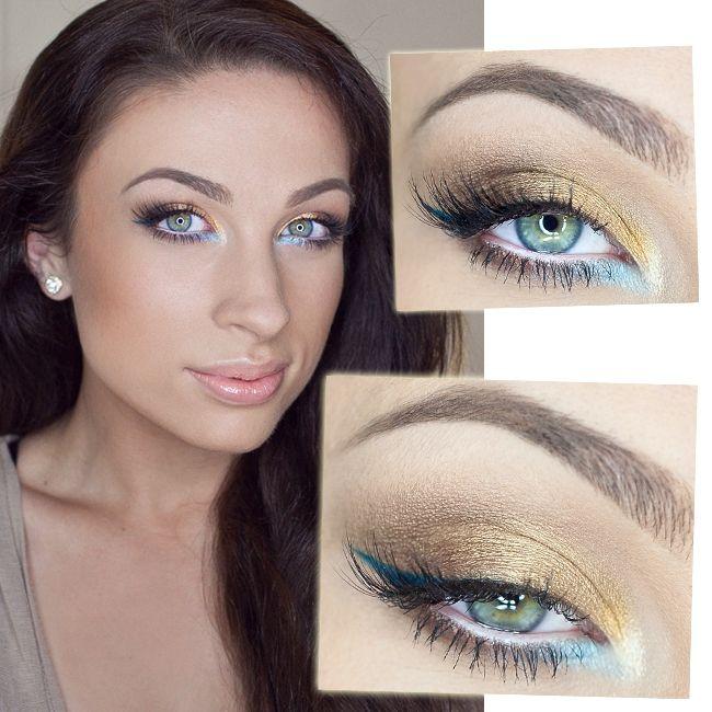 great blue, summer makeup