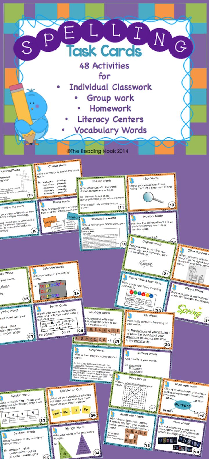Spelling Task Cards - 48 different ways to learn your spelling words! Can also be used for Vocabulary words.