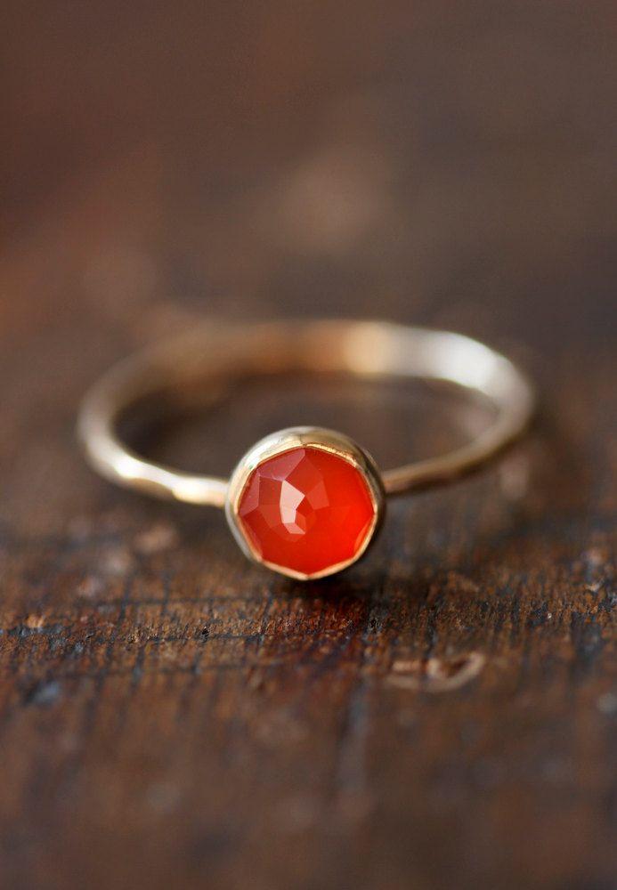 Delicate gold ring, orange carnelian, rose cut, thin stacking ring, orange gemstone, solid 14k gold ring, thin gold band by BelindaSaville on Etsy