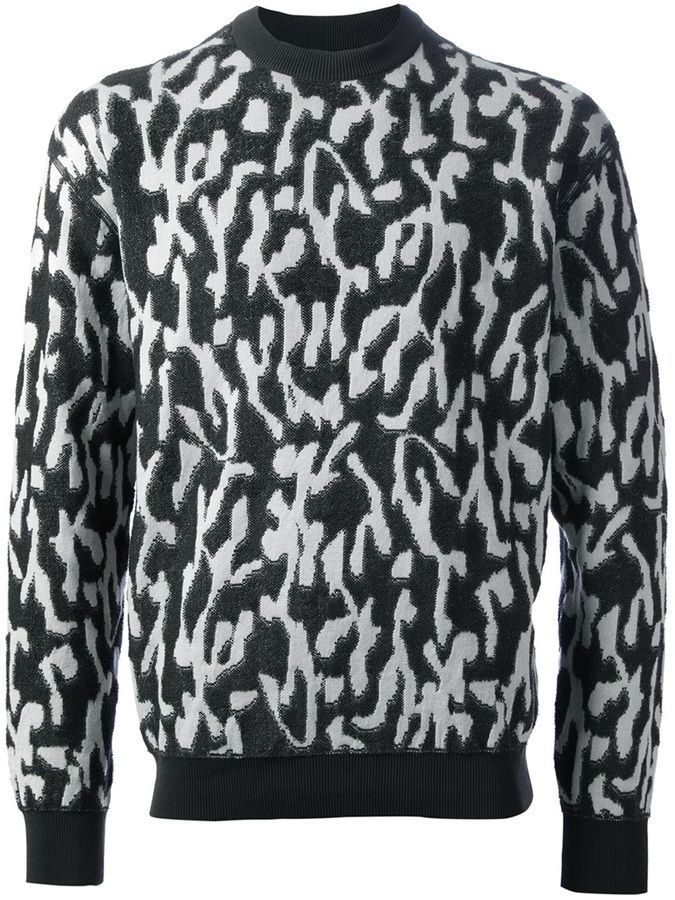 Black and White Print Crew-neck Sweater by Lanvin. Buy for $1,382 from farfetch.com