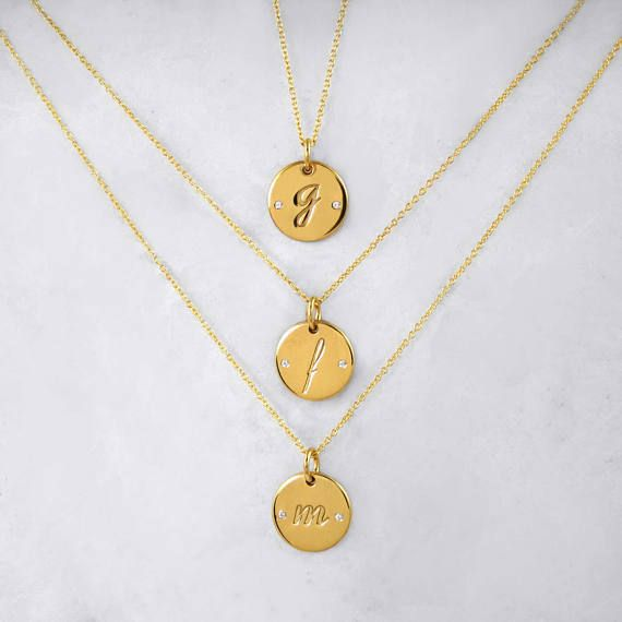 Personalized Initial Round Necklace, Yellow Gold 14 karat Diamond Monogram, Dainty Circle Tag, Delicate Monogram Engraved Pendant, Gift Idea