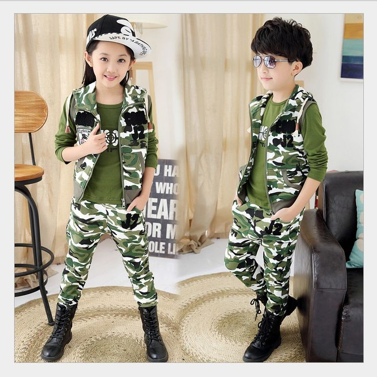 >> Click to Buy << Child Camouflage Clothing 3 Pcs 2015 Children's Fashion Suit for Boys&Girls Spring&Autumn Cotton Camo Boys Sports Set #Affiliate