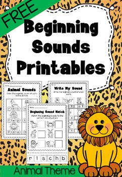 FREEBIE Beginning Sounds Printable Worksheet. Pre-K and Kindergarten.