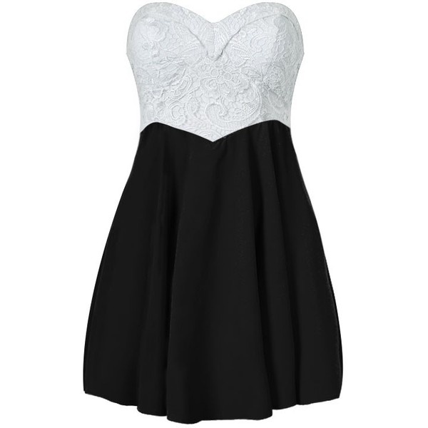 Skater dress with lace bodice 35 liked on polyvore