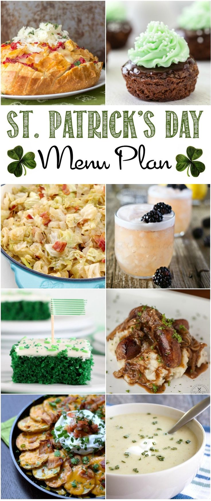 From appetizers to desserts, this St. Patrick's Day Menu Plan will help you plan an amazing party to celebrate with your favorite Leprechauns! | cookingwithcurls.com