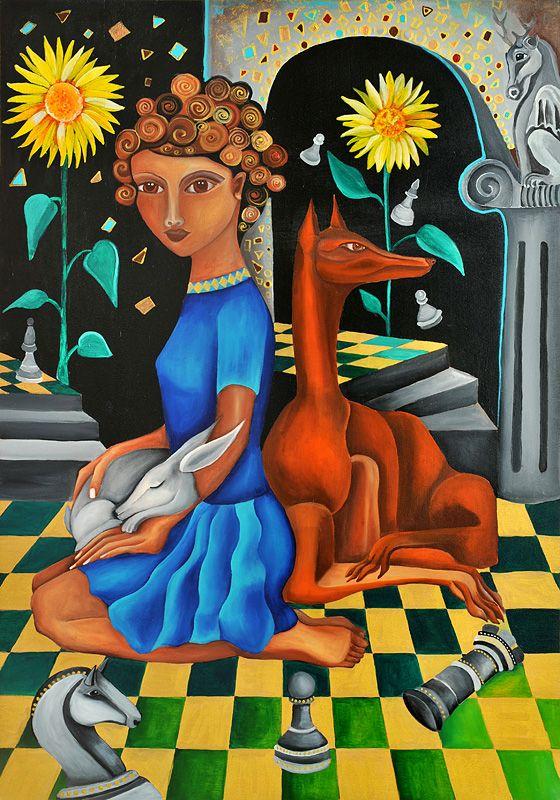 Kellerkind von Jeanett Rotter Figurative Kunst, Mädchen, Frau, Hund, Schachbrett, Sonnenblumen, Freunde