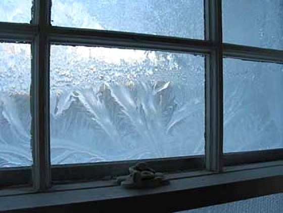 Frost on the inside of the windows - before central heating - and then you had…